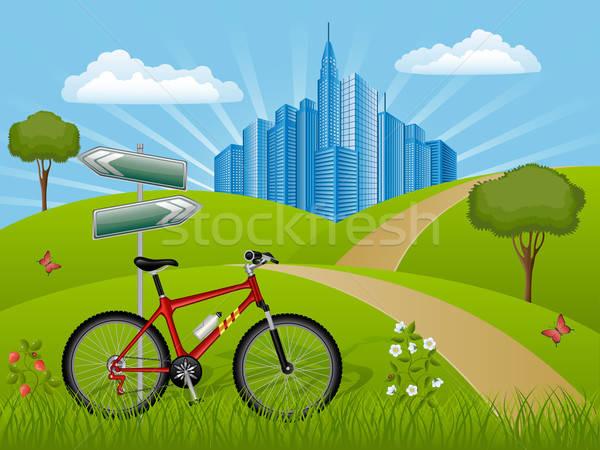 Lata krajobraz rowerów domu trawy drogowego Zdjęcia stock © AbsentA