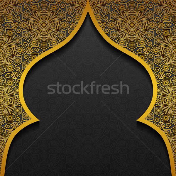 Floral tradicional ornamento projeto preto ouro Foto stock © AbsentA