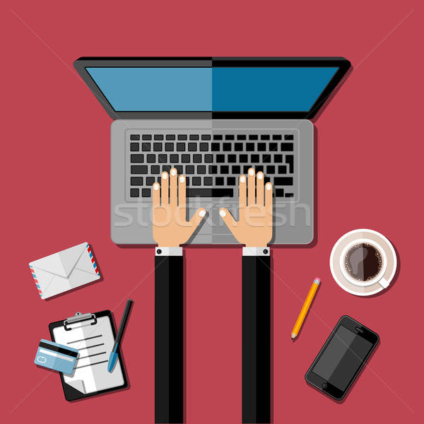 Moderne business kantoor werkruimte computer hand Stockfoto © AbsentA