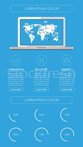 Ui infographics web elemanları dünya dizüstü bilgisayar Stok fotoğraf © AbsentA