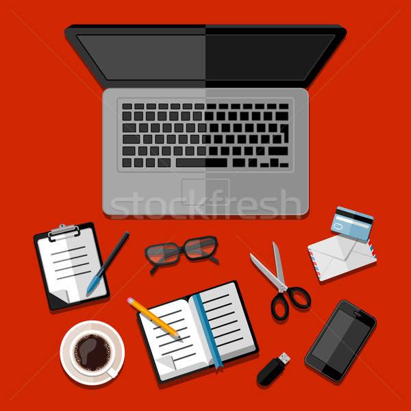 Moderne business kantoor werkruimte computer telefoon Stockfoto © AbsentA