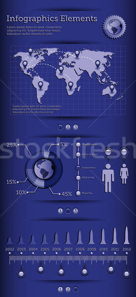 Infographics elements with world map. EPS 10 vector illustration. Stock photo © AbsentA