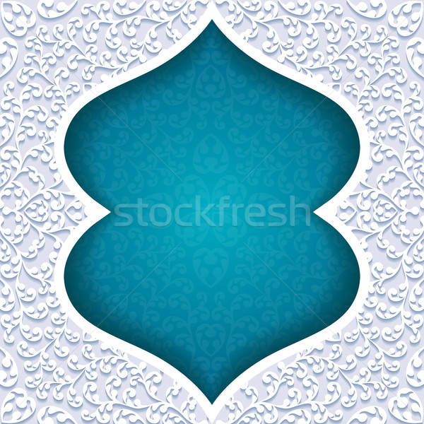 Abstract traditioneel ornament papier ontwerp Blauw Stockfoto © AbsentA