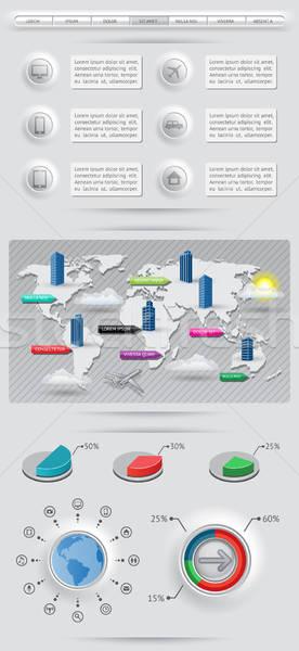 Infográficos elementos mapa do mundo eps10 edifício globo Foto stock © AbsentA