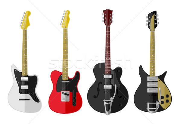 Ingesteld geïsoleerd vintage ontwerp gitaar zwarte Stockfoto © AbsentA