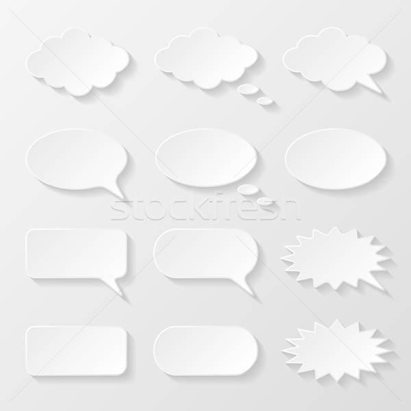 Szett papír szövegbuborékok kommunikáció beszéd léggömb Stock fotó © AbsentA