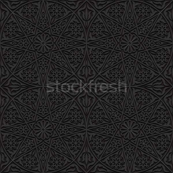 Stockfoto: Traditioneel · ornament · textuur · ontwerp · zwarte