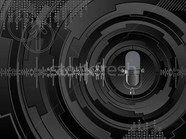 Absztrakt zene háttér fekete hullám retro Stock fotó © AbsentA