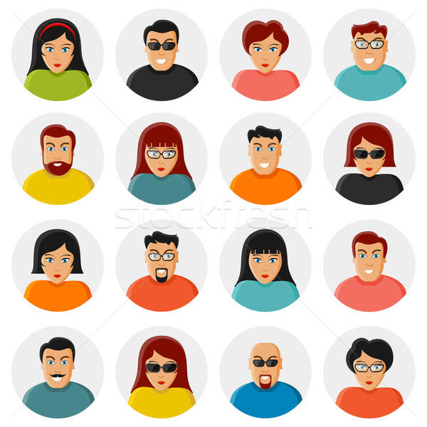 Set of characters. Flat icons Stock photo © AbsentA