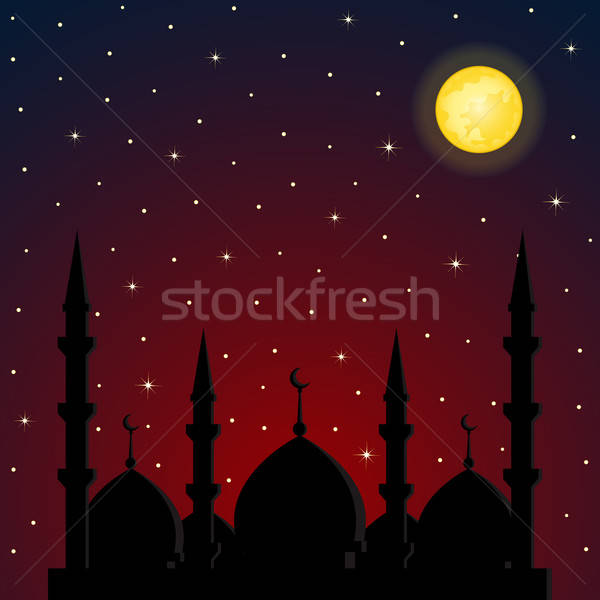 Night background with mosque silhouette Stock photo © AbsentA