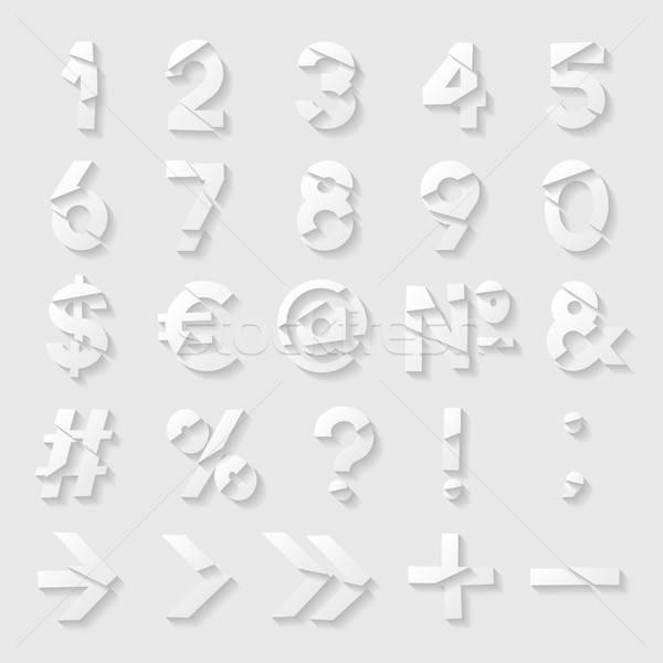 Carta taglio numeri simboli business internet Foto d'archivio © AbsentA