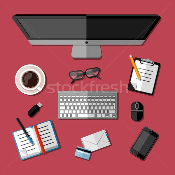 Photo stock: Modernes · affaires · bureau · ordinateur · café