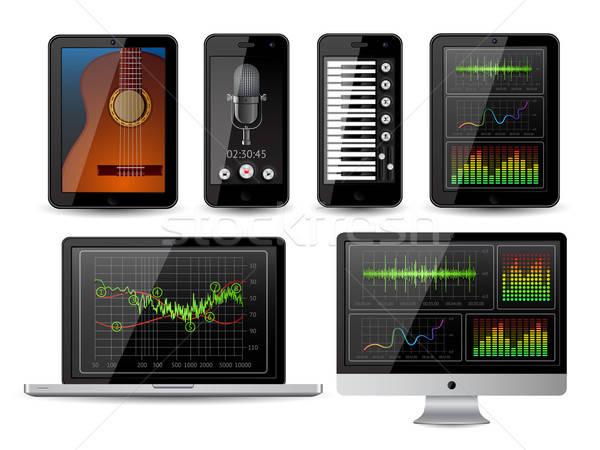 Geïsoleerd gadgets communie eps10 telefoon microfoon Stockfoto © AbsentA