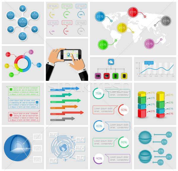 Ui elementos infografía colección teléfono Internet Foto stock © AbsentA