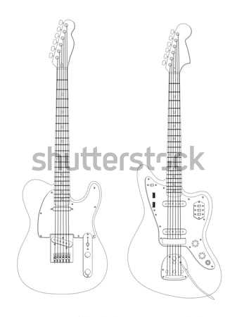 Isolated image of guitar and synthesizer. Vector illustration.  Stock photo © AbsentA