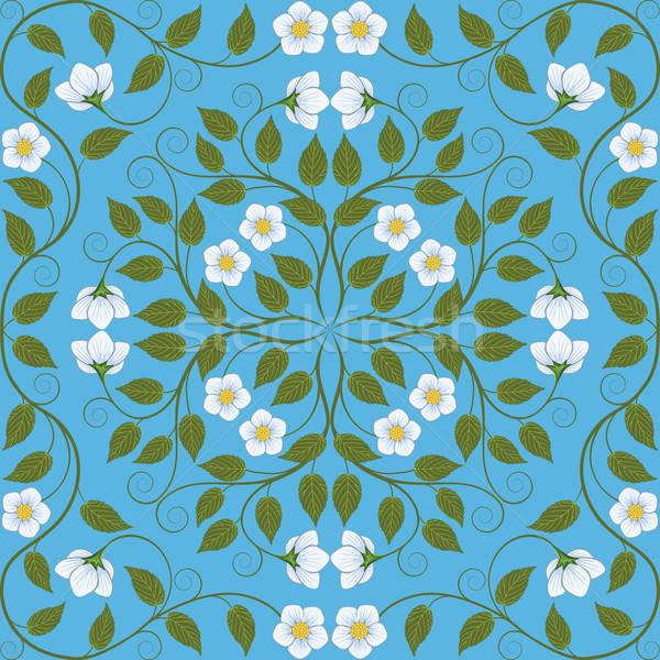 Absztrakt végtelenített virágmintás minta retro levél Stock fotó © AbsentA