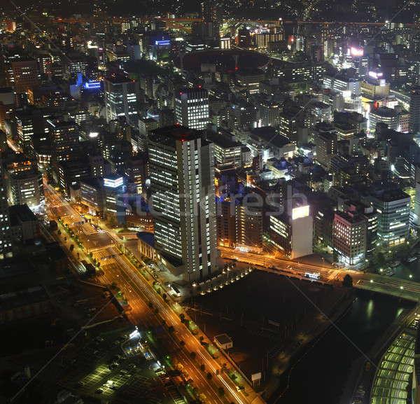 Osaka gece sokaklarda gökdelenler yüksek üzerinde Stok fotoğraf © AchimHB