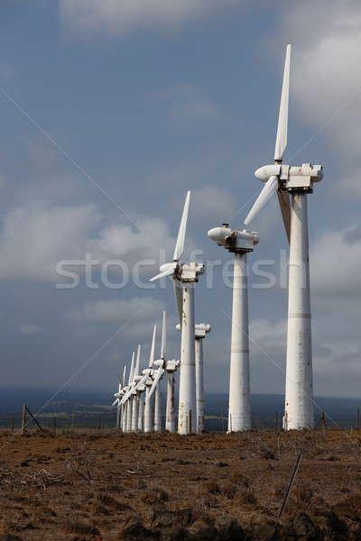 Rozsdás szél elektromos erőmű nagy sziget Hawaii Stock fotó © AchimHB