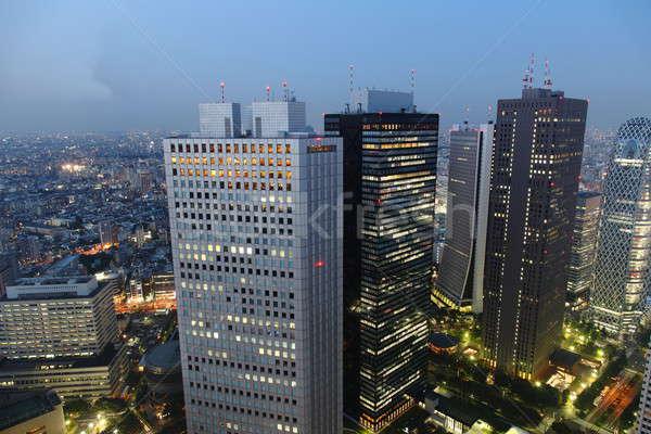 Tóquio noite panorama arranha-céus negócio Foto stock © AchimHB