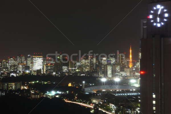 Токио ночь улиц Небоскребы высокий Сток-фото © AchimHB