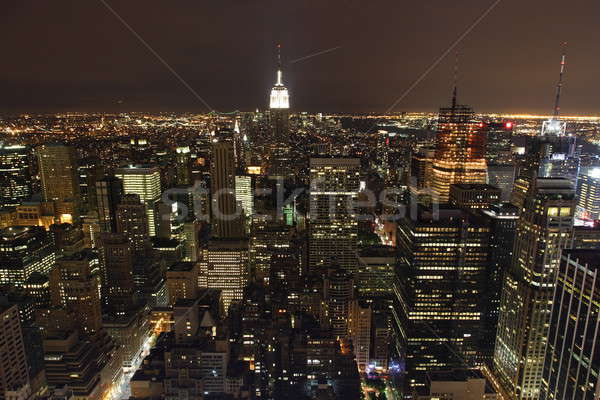 Нью-Йорк ночь город синий Skyline домах Сток-фото © AchimHB