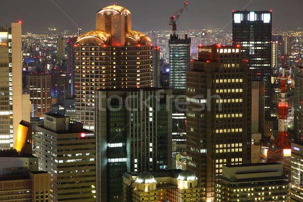 Osaka verlicht City Night business stad straat Stockfoto © AchimHB