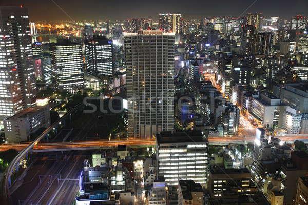 Tóquio noite ruas arranha-céus alto acima Foto stock © AchimHB
