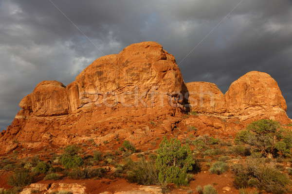 закат лестница облака пейзаж синий каменные Сток-фото © AchimHB