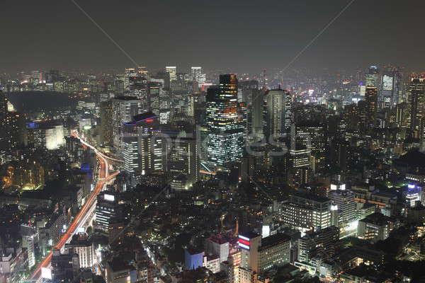 Токио ночь Панорама Небоскребы бизнеса Сток-фото © AchimHB