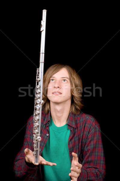 Joven flauta música retrato negro camisa Foto stock © acidgrey