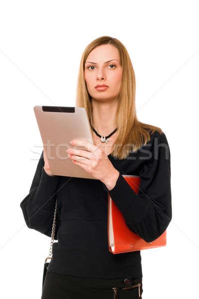 Lady черный КПК молодые женщину девушки Сток-фото © acidgrey
