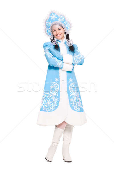 Attractive woman in a suit of snow maiden Stock photo © acidgrey