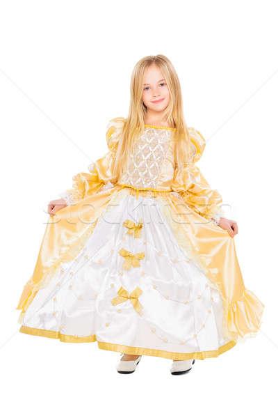 привлекательный девочку вечернее платье изолированный белый Сток-фото © acidgrey