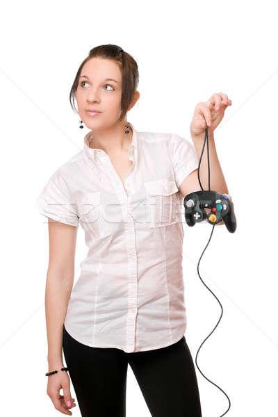 Belo morena menina joystick jovem beleza Foto stock © acidgrey