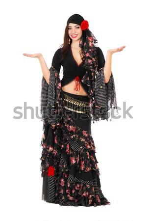 Ekspresyjny kobieta czarny spódnica odizolowany biały Zdjęcia stock © acidgrey