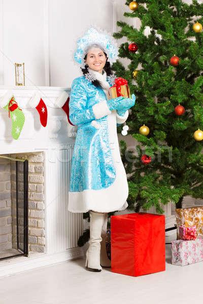 Snow maiden near christmas fir Stock photo © acidgrey