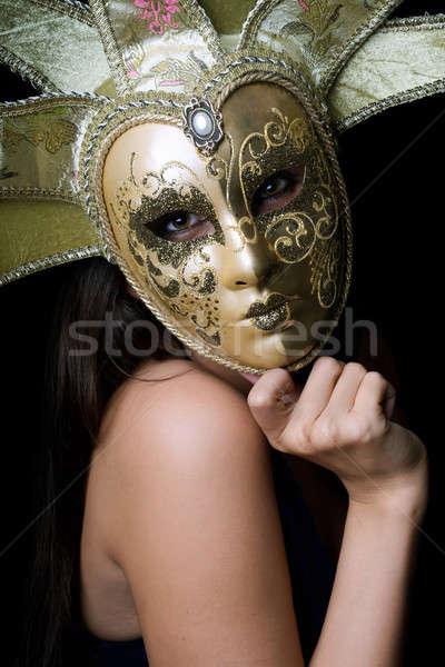 Fiatal nő velencei maszk portré nő arc szemek Stock fotó © acidgrey