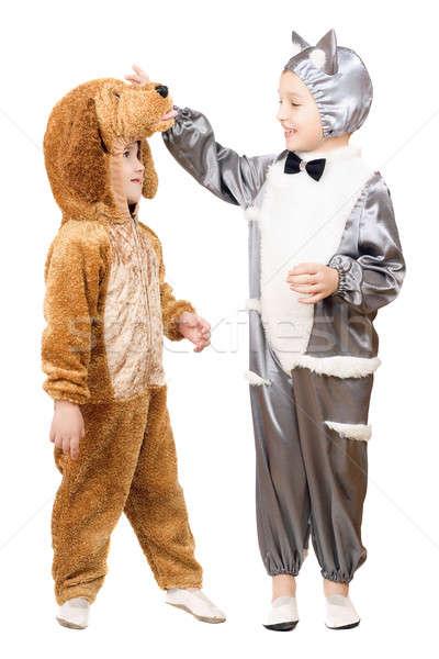 Photo stock: Garçons · chat · chien · isolé · bébé · heureux