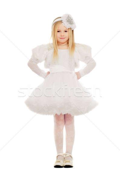Gelukkig meisje witte jurk geïsoleerd vrouw mode Stockfoto © acidgrey