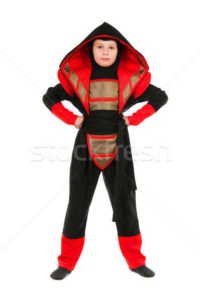 Jongen ninja kostuum weinig Rood Stockfoto © acidgrey