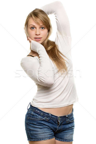 Szőke nő pózol fiatal mutat csinos Stock fotó © acidgrey