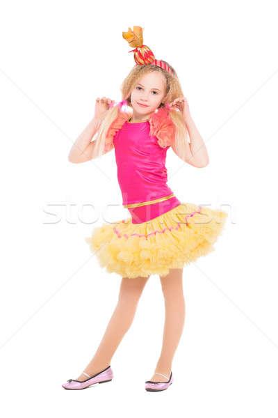 Photo stock: Belle · petite · fille · posant · bonbons · costume · isolé