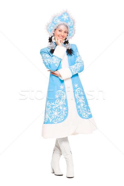 Csinos nő hó hajadon jelmez izolált fehér Stock fotó © acidgrey