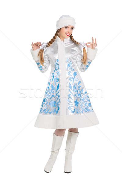 Woman in snow maiden costume Stock photo © acidgrey