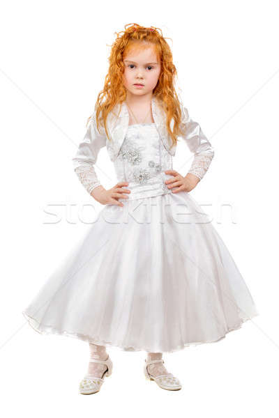 Szép vörös hajú nő kislány visel fehér ruha izolált Stock fotó © acidgrey
