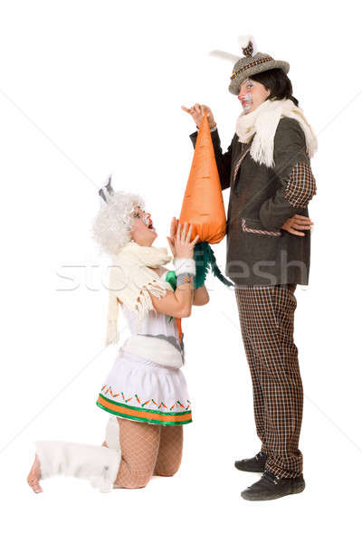 Funny young couple with carrot Stock photo © acidgrey