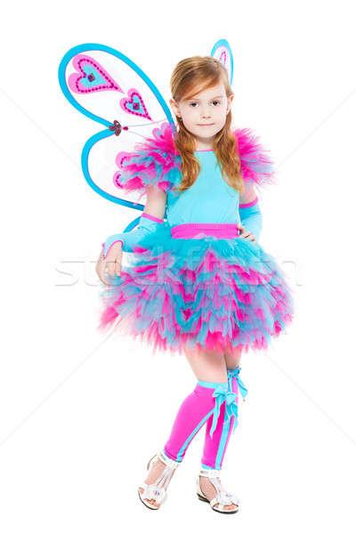 Stockfoto: Mooie · meisje · luxe · vlinder · kostuum