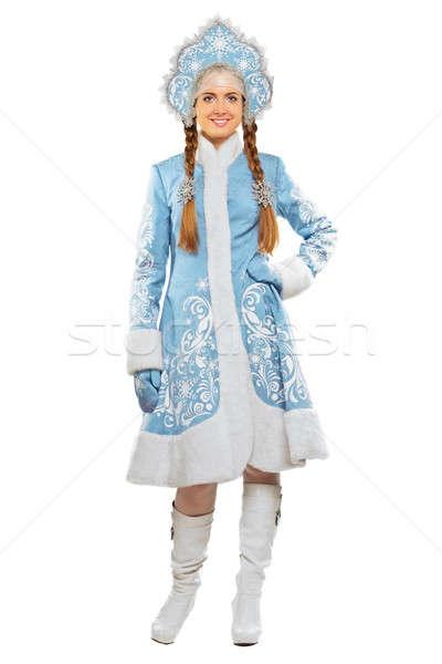 Mosolyog hó hajadon mosolygó nő visel kék Stock fotó © acidgrey