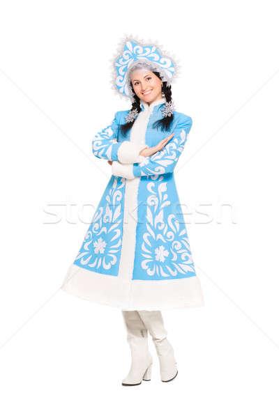 Playful brunette posing in snow maiden costume Stock photo © acidgrey