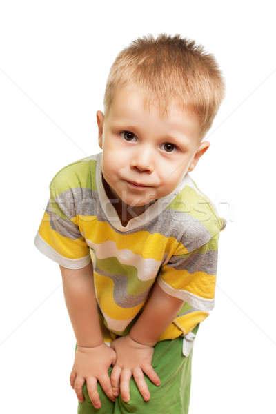 Bonitinho loiro engraçado menino posando estúdio Foto stock © acidgrey